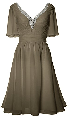 Gown Dress Bride of V Short MACloth Evening Formal Pewter Women Mother Sleeves Neck fwpaxHZq