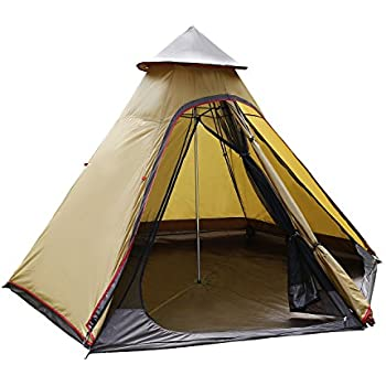 ANCHEER Teepee Tent for C&ing Tipi Tent Instant Family Tent 4 Person Tents Waterproof and Lightweight Pyramid Tent with Carry Bag  sc 1 st  Amazon.com & Amazon.com : Guide Gear Teepee Tent 18u0027 x 18u0027 : Family Tents ...
