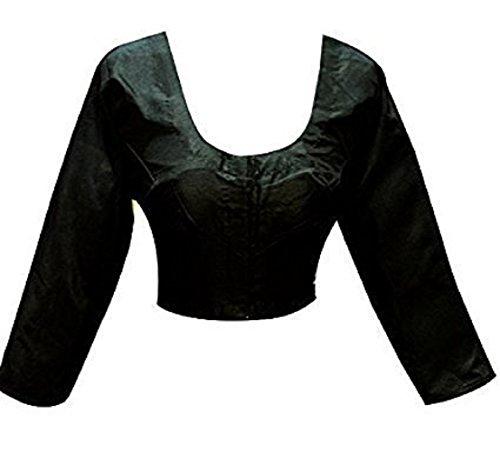 (Designer Women Choli Indian Black Top Raw Silk Blouse Wedding Party Wear Best Match for Saree By Ethnic Emporium)