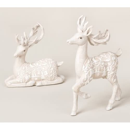 set of 2 winter woods resting fawn deer christmas table top figures 65