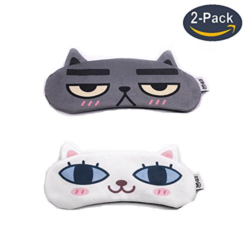 [2 PACK] MicroBird Cat&Dog Cute Sleep Eye Mask with gel pad, Hot & Cold Therapy for Insomnia Puffy Eyes, Super Soft and Light, for Sleeping, Shift Work,Blindfold Eyeshade for Men (Puffy Inserts)