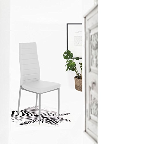 Set of 4 Silver Metal Frame White Bonded Leather Dining Table Side Chair Kitchen