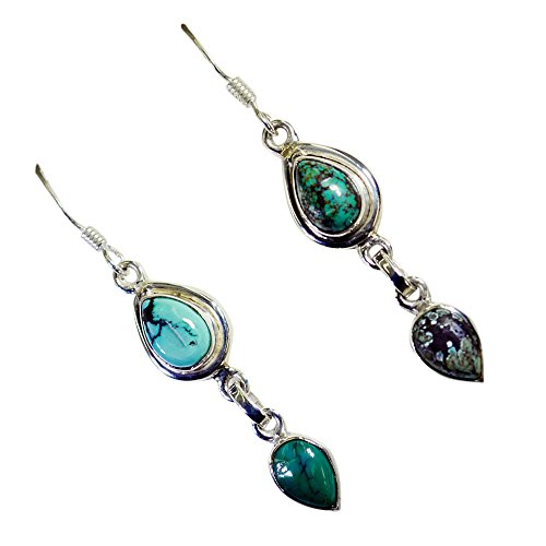 Pear Shape Earrings Real Turquoise For Women 925 Sterling Silver Jewelry December Birthstone Handcrafted