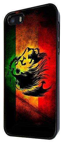 581 - Rasta Lion Jamaican Style Design iphone 5 5S Coque Fashion Trend Case Coque Protection Cover plastique et métal - Noir