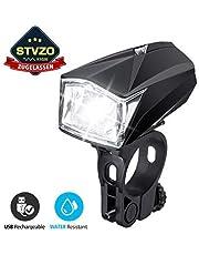 Fahrradbeleuchtung LED, OUTERDO StVZO Zugelassen Fahrradlicht LED,Fahrradlampe USB Wiederaufladbar,Fahrrad Frontlicht Wasserdicht,Fahrradleuchte 1200mAh Akku MTB Rennrad Schwarz