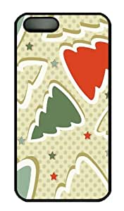 Hot iPhone 5S Customized Unique Print Design Lovely Christmas Tree New Fashion PC Black iPhone 5/5S Cases