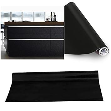 KINLO® Folie küche Schwarz 61x500cm aus hochwertigem PVC Material ... | {Küchenschrank folie 29}