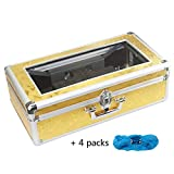Shoe Cover Machine Dispenser Automatic Butterfly Pattern Home Medical Anti Slip Anti-Wear Safety Mute, Pure Steel Movement, Unisex Disposable Forming Foot Mould (17x9x5 in), Gold,Gold