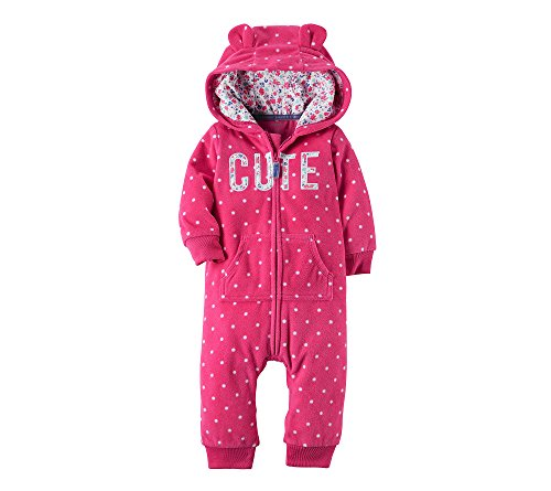 Carter's Baby Girls' Hooded Fleece Jumpsuit 6 Months (Carters Hooded Jumpsuit)