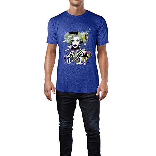 SINUS ART® Abstrakte Foto Collage mit Model Herren T-Shirts in Vintage Blau Cooles Fun Shirt mit tollen Aufdruck