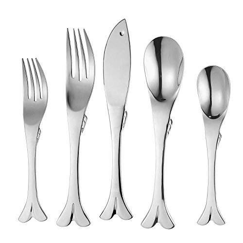 Supreme 20-Piece 18/8 Stainless Steel Flatware Set with Fish Style, Service for 4, Include Knives/Forks/Spoons/Teaspoons/Salad Forks, Mirror Polished, Dishwasher Safe