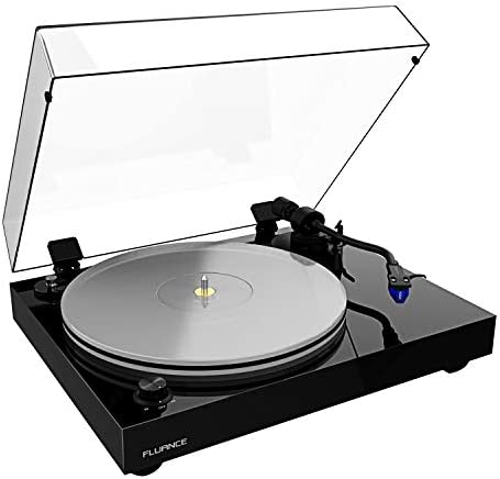 Fluance RT85 Reference High Fidelity Vinyl Turntable Record Player with Ortofon 2M Blue Cartridge, Acrylic Platter, Speed Control Motor, Solid Wood Plinth, Vibration Isolation Feet – Piano Black