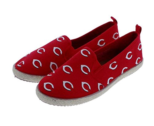 FOCO MLB Cincinnati Reds Women's Espadrille Canvas Shoes, Medium, Team Color