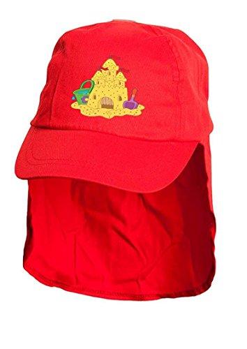 Rouge pour Enfant Château de Sable soleil Bonnet style Légionnaire. Taille unique.