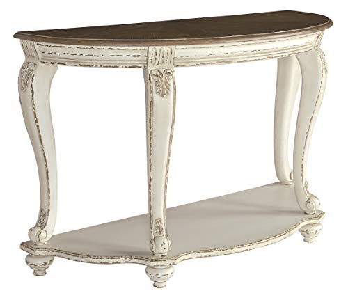 (Signature Design by Ashley T743-4 Realyn Sofa Table, White/Brown)