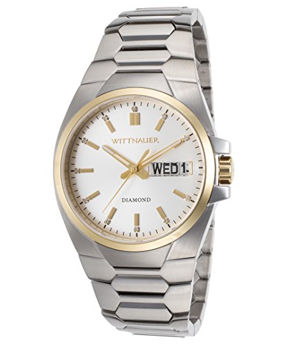 Wittnauer WN3045 Stainless Steel Day & Date Silver Tone Diamond Dial Men's Watch (Wrist Silver Wittnauer Watch)