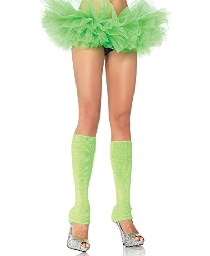 Leg Avenue 3921-NEON-GREEN Women's Neon Green Ribbed Leg Warmers - One Size - Neon Green