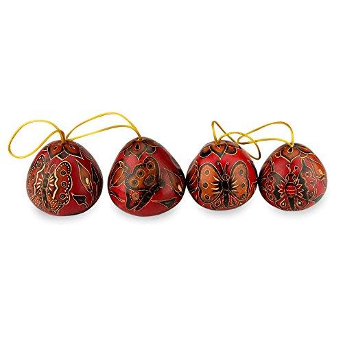 (NOVICA Artisan Handmade Decorative Butterflies' (Set of 4) Mate Gourd)