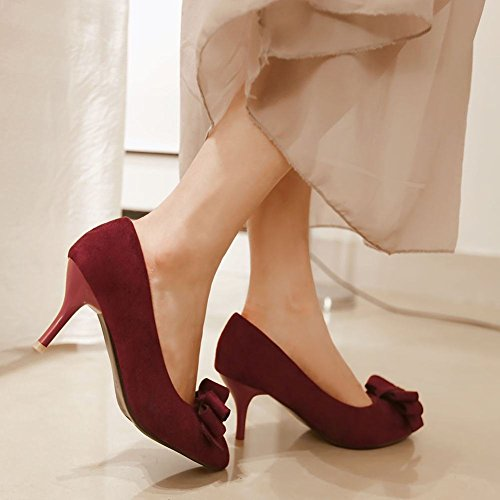 Charm Foot Womens Pointed Toe Bows High Heel Pumps Shoes Wine Red OgffkRq