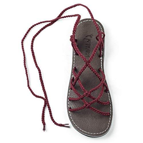 Plaka Flat Gladiator Sandals for Women Sunset Sangria 9 Sahara ()