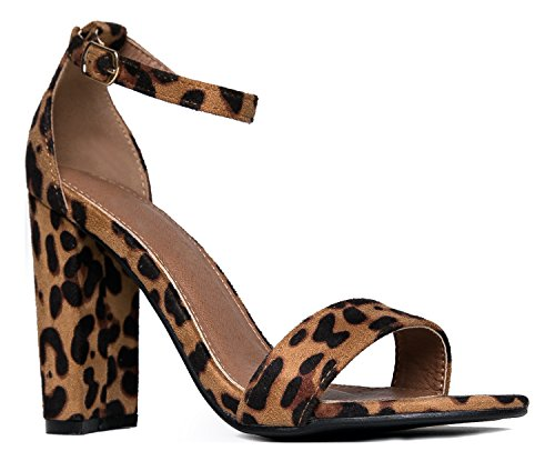 Strappy Block High Heel, Leopard, 9 B(M) US