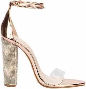 f3948429c17de Secret-shop Women Heeled Sandals Bandage Rhinestone Ankle Strap Pumps Super High  Heels,Gold