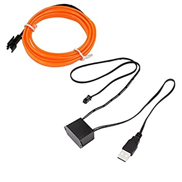 Size:2M Color Blue 3V//12V USB Drive Baynne LED EL Light Neon Rope Car Party Dance Glowing Light Strip