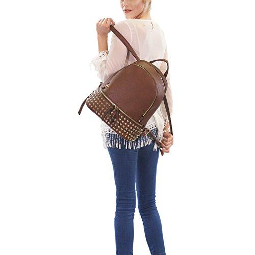 Casual MKY 6582 Leather Women Fashion Faux School Daypack orange College Bag Backpack xYHRYwfaq