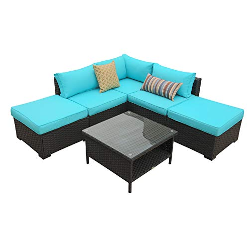 Rattaner Outdoor Wicker Sofa Set- 6 Piece Patio Garden Sectional PE Rattan Furniture with Turquoise - 6 Sofa Piece