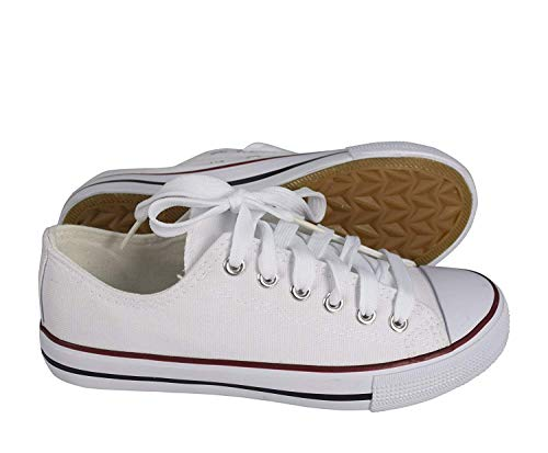 Peach Couture Classic Casual Canvas Low top Tennis Shoes Sneakers (11, White) ()