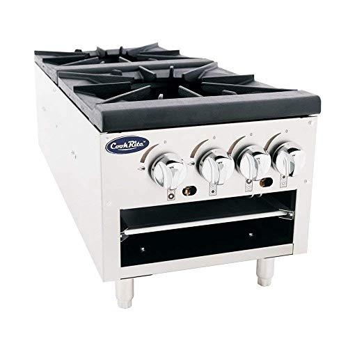 Cook Rite ATSP-18-2L Two Burner Stock Pot Stove Natural Gas Stainless Steel Countertop - 160,000 BTU ()