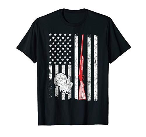 American Turkey - TURKEY HUNTING AMERICAN FLAG RIFLE WEATHERED T-SHIRT