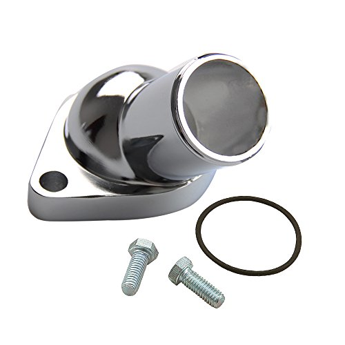 CarBole 15 Degree Chrome Water Neck Thermostat Housing Fits for Chevy Small Big Block for Chevy ()