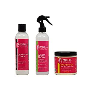 """Mielle Organics Detangling Co-Wash + White Peony Leave-In Conditioner + Babassu Oil Mint Deep Conditioner 8oz """"Set"""""""
