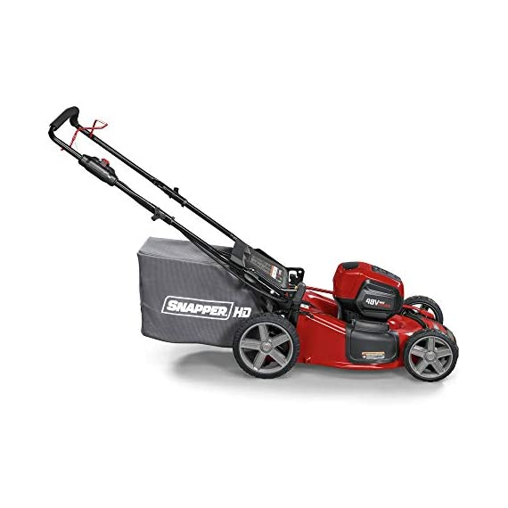 Snapper HD 48V MAX Cordless Electric 20-Inch Lawn Mower Kit with (1) 5.0 Battery and (1) Rapid Charger 7 Up to 90 minutes of run time with 5. 0 Battery under light loads** 3-in-1 mulch/bag/side-discharge options on 20-inch steel deck Intelligent load sensing technology - allows for optimum power levels while you mow for maximum efficiency