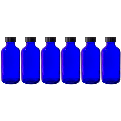 Cobalt Blue 4 oz Glass Boston Round Bottle with Black Phenolic Cone Lined Caps (6 Pack) + (Black Phenolic Resin)
