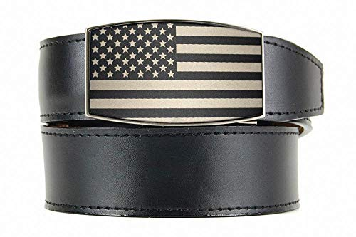 USA All Black Aston Men's Leather Dress Ratchet Belt with Automatic Buckle - Nexbelt Ratchet System Technology Black Leather Etched Buckle Belt