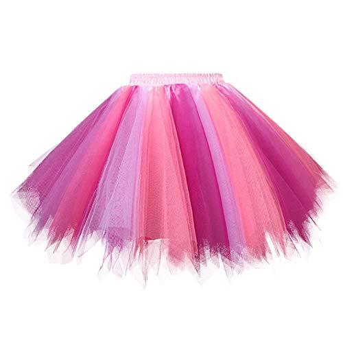 Hanpceirs Women 1950s Short Vintage Tulle Petticoat Skirt Ballet Bubble Tutu Coralfuchsia 2XL ()
