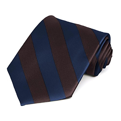 Navy Blue Brown Striped Tie product image