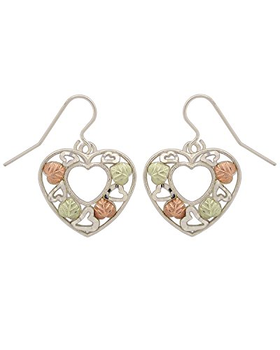 Heart Open-Work Earrings, Sterling Silver, 12k Green and Rose Gold Black Hills Gold Motif by The Men's Jewelry Store (for HER)