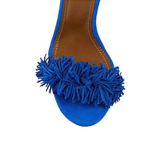 Comfity Sandály Heeled Sandály Lace pro ženy Dámské střapce Vysoké Sandály  Lace Up Slingback boty Vysoké šaty na patě Sandály Modrá 12cm 71675c2 -  catuma. ... 7ba578a65a