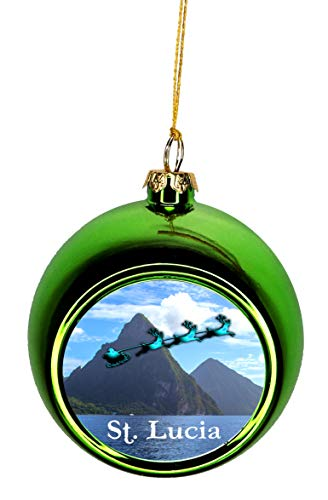 - Lea Elliot Inc. Santa Claus and Sleigh Riding Over Pitons St. Lucia Bauble Christmas Ornaments Green Bauble Tree Xmas Balls