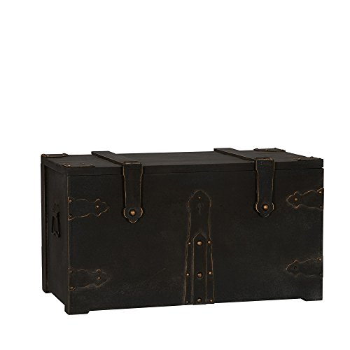 (Household Essentials G.O.T. Wooden Standard Trunk, Large, Black)