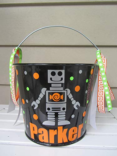 Personalized 5 quart Halloween pail- robot design -