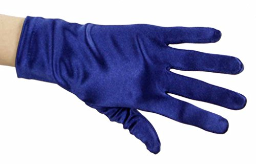Beautiful Wrist Length Short Satin Gloves in 34 Colors Assorted Glove Colors: Navy Blue (Lady In The Navy Gloves)