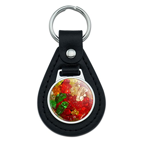 Graphics and More Gummy Gummi Bears Black Leather Keychain]()
