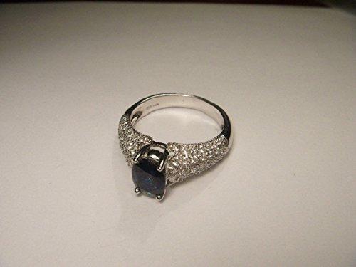 Stunning Estate 14K White Gold Sapphire Diamond Tulip Ring Band (Diamond Ring Sapphire Estate)