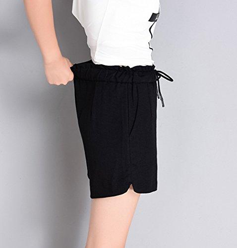 pantaloni Lino Casual in Donna Lino Bermuda Lino Estate corti pantaloni Shorts Pantaloncini donna Casual Nero lino Bermuda pantaloni TieNew Pantaloni da Pantaloni Hgz5B5qw