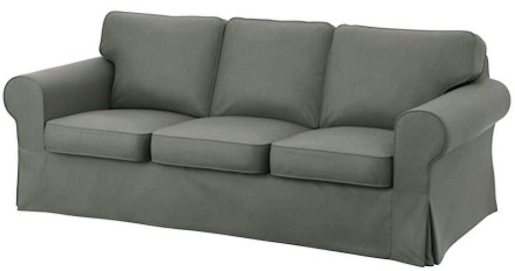 The Dark Gray Dense Cotton Ektorp 3 Seat Sofa Cover Replacement Is Custom Made for IKea Ektorp Sofa Cover, An Ektorp Sofa Slipcover Replacement