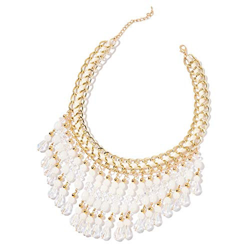 - Shop LC White Glass Resin Goldtone BIB Collar Necklace for Women 20
